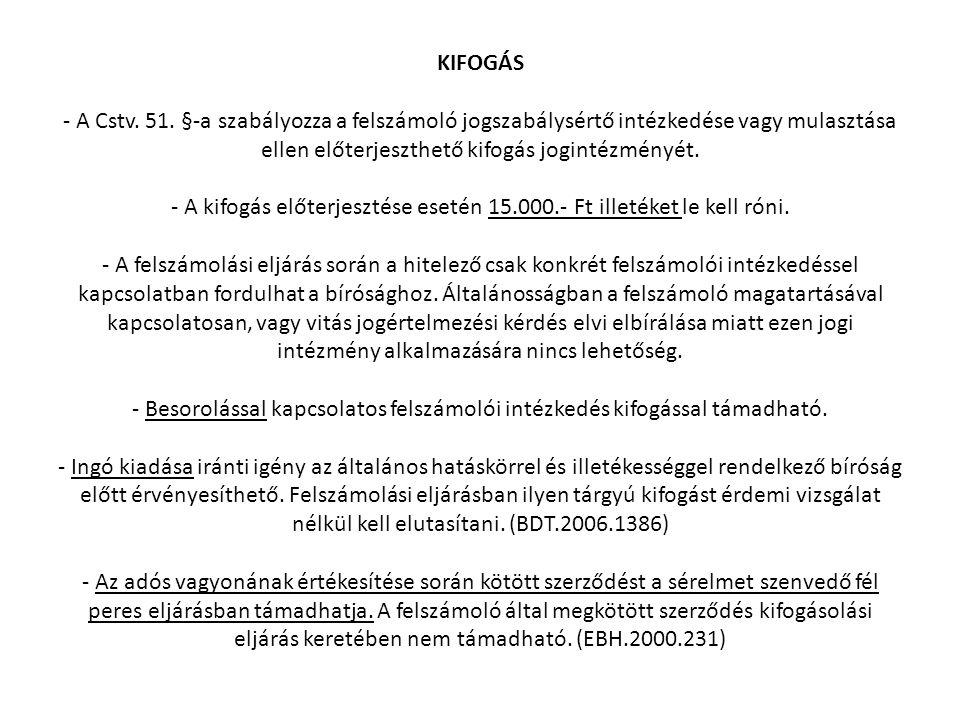 KIFOGÁS - A Cstv. 51.