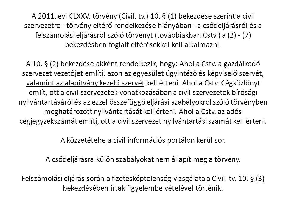 A 2011. évi CLXXV. törvény (Civil. tv. ) 10