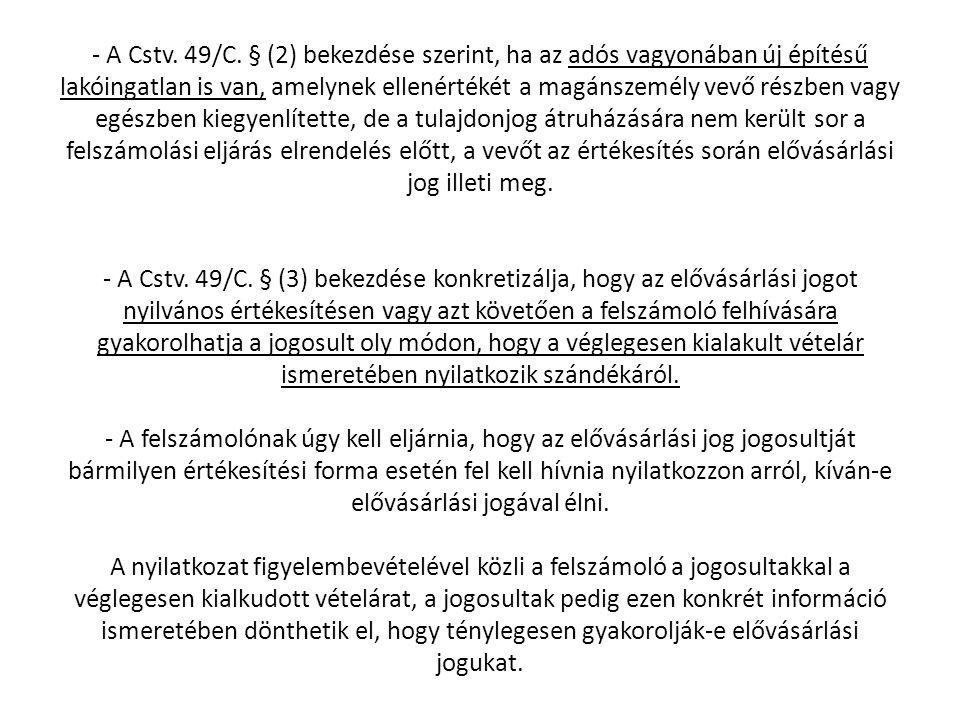 - A Cstv. 49/C.