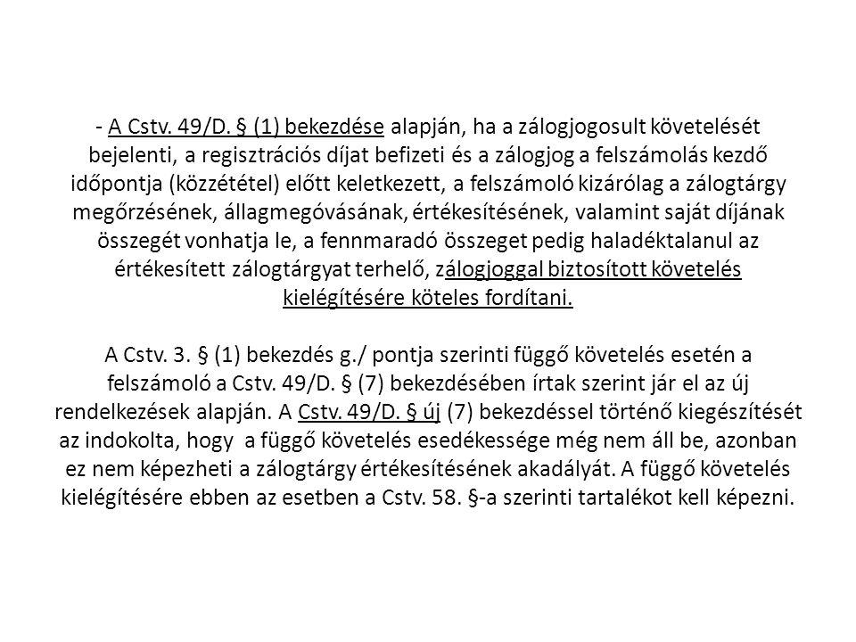 - A Cstv. 49/D.