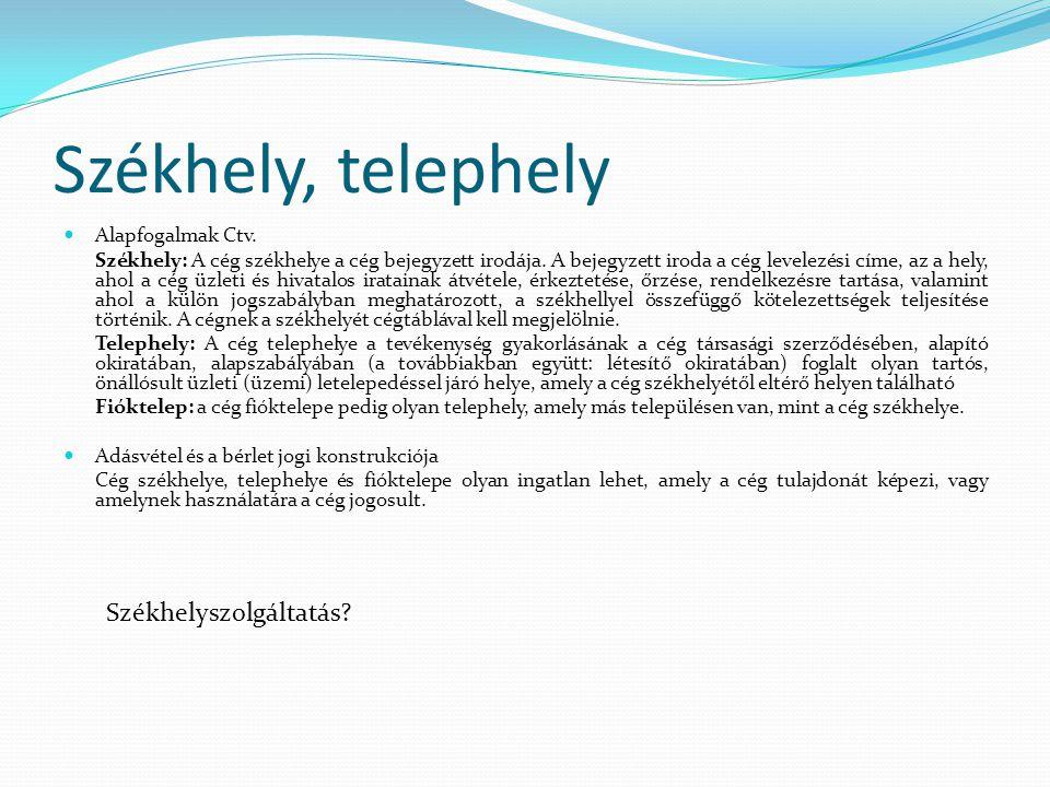 Székhely, telephely Székhelyszolgáltatás Alapfogalmak Ctv.
