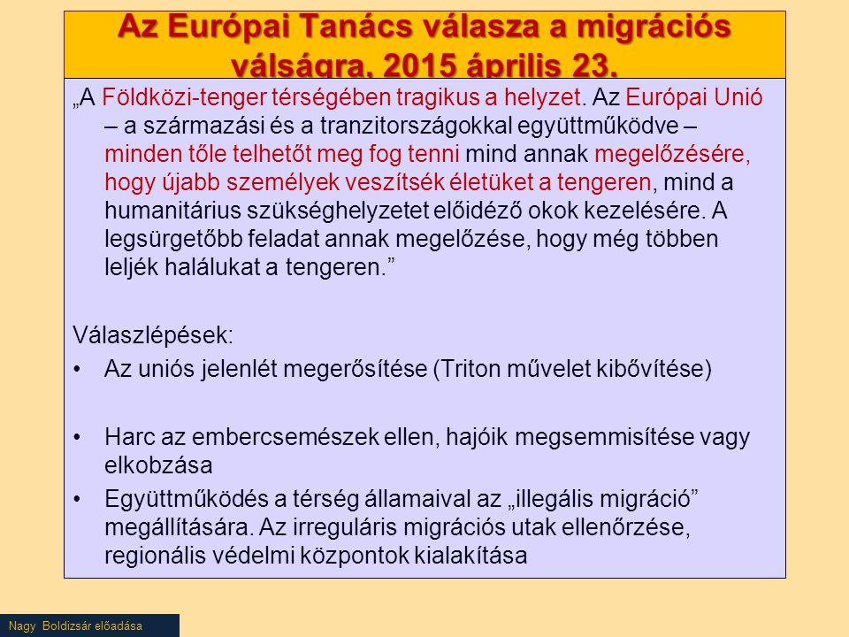 Az Európai Tanács válasza a migrációs válságra, 2015 április 23.