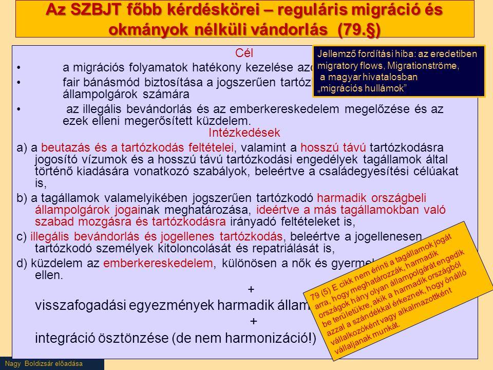 Az SZBJT főbb kérdéskörei – reguláris migráció és okmányok nélküli vándorlás (79.§)