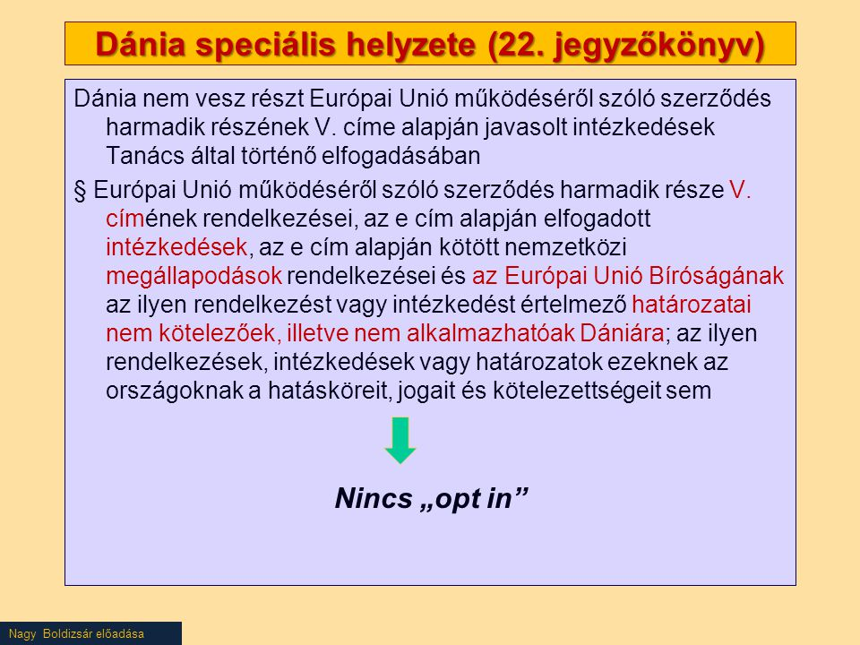 Dánia speciális helyzete (22. jegyzőkönyv)