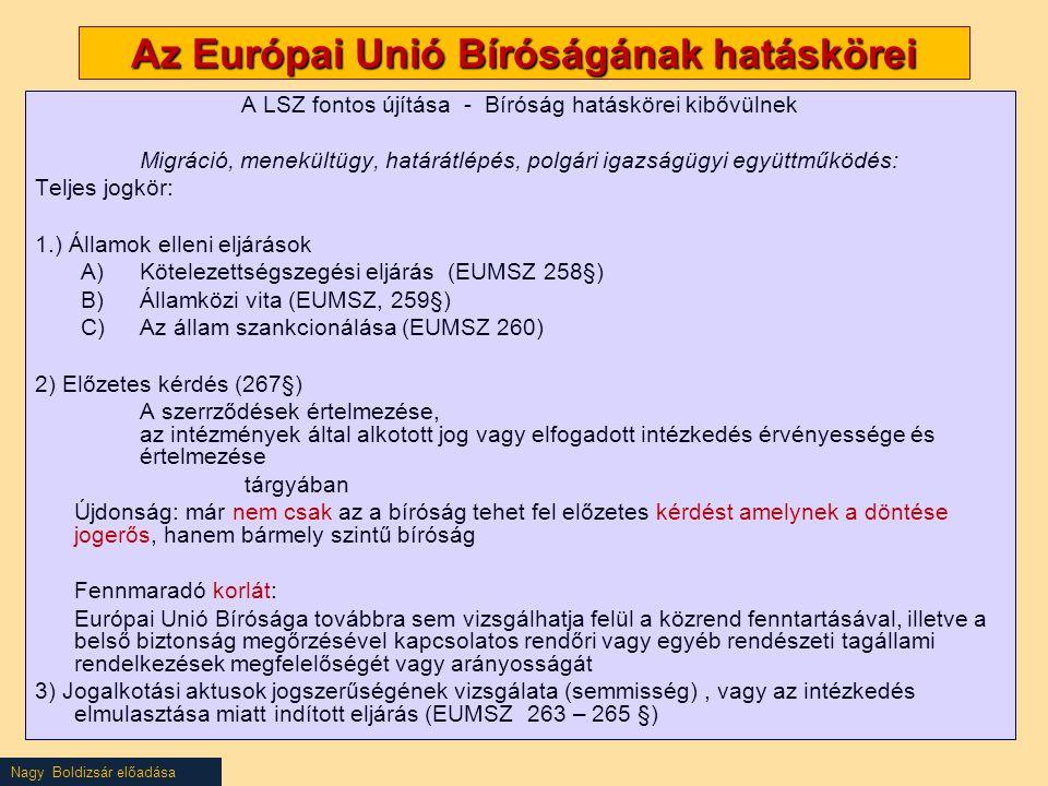 Az Európai Unió Bíróságának hatáskörei