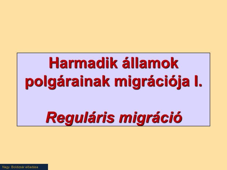 Harmadik államok polgárainak migrációja I. Reguláris migráció