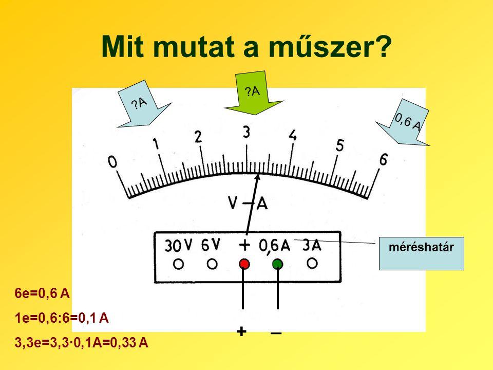 Mit mutat a műszer _ + 6e=0,6 A 1e=0,6:6=0,1 A 3,3e=3,3·0,1A=0,33 A