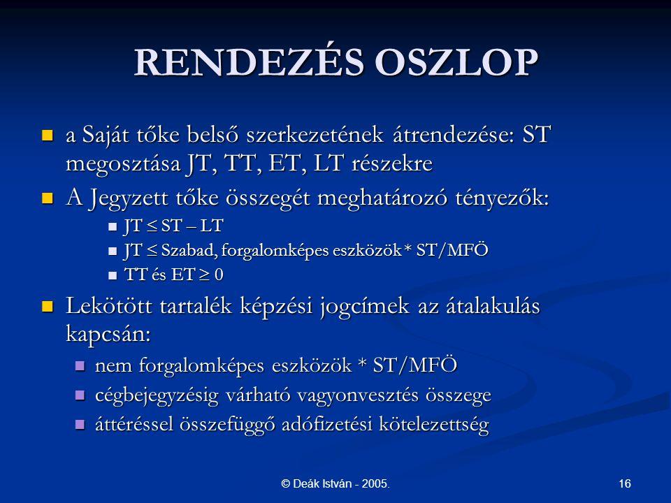 RENDEZÉS OSZLOP a Saját tőke belső szerkezetének átrendezése: ST megosztása JT, TT, ET, LT részekre.