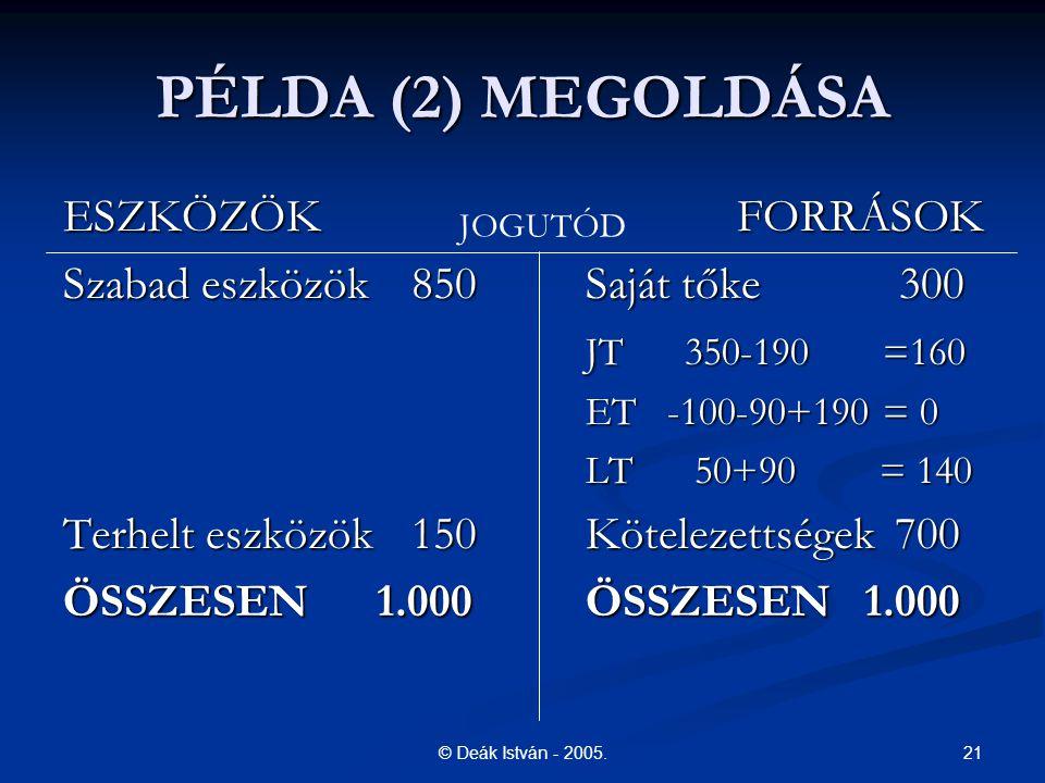 PÉLDA (2) MEGOLDÁSA ESZKÖZÖK FORRÁSOK