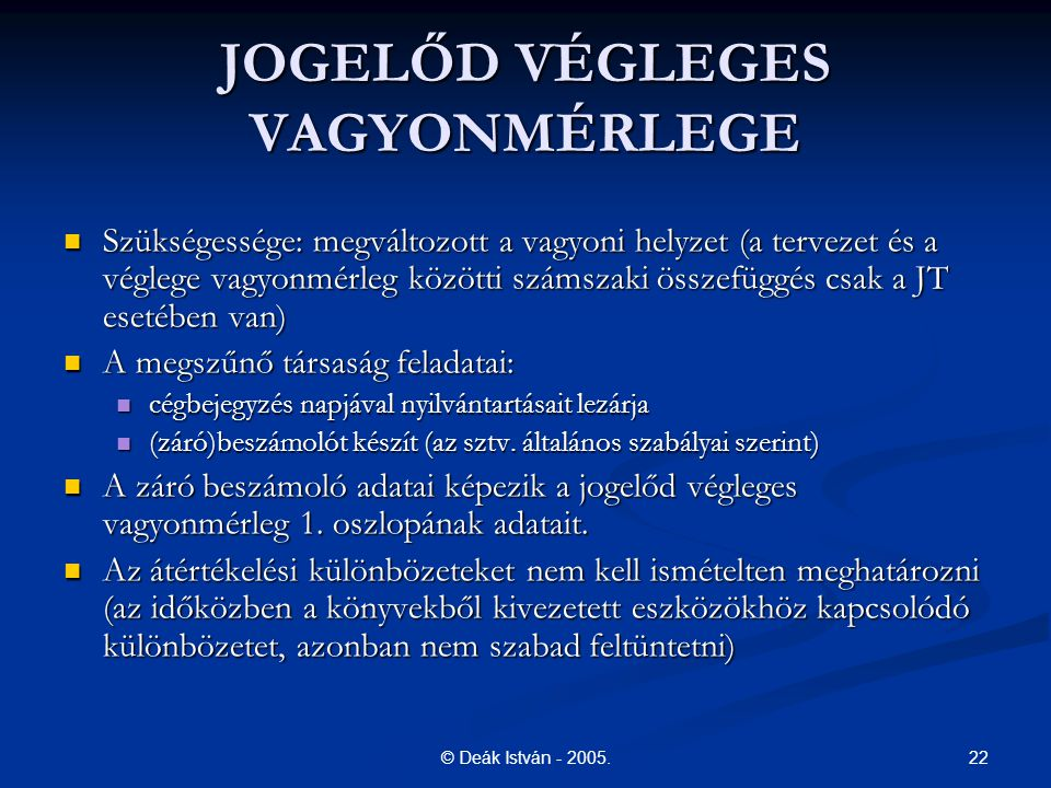 JOGELŐD VÉGLEGES VAGYONMÉRLEGE