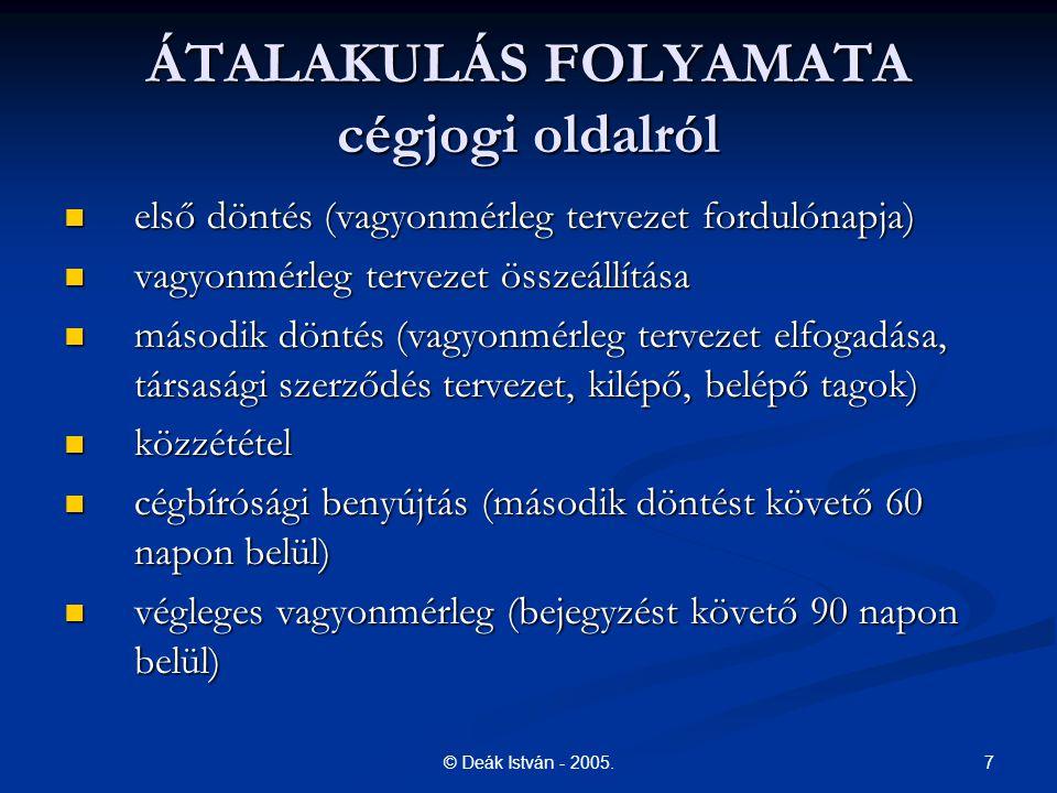 ÁTALAKULÁS FOLYAMATA cégjogi oldalról