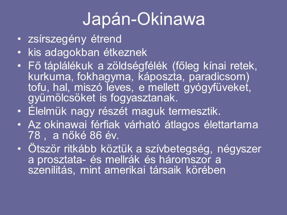 Japán-Okinawa zsírszegény étrend kis adagokban étkeznek