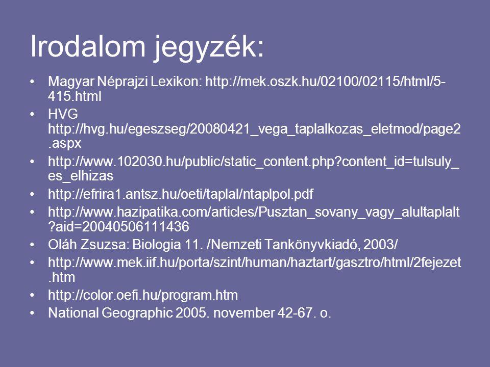 Irodalom jegyzék: Magyar Néprajzi Lexikon: http://mek.oszk.hu/02100/02115/html/5-415.html.