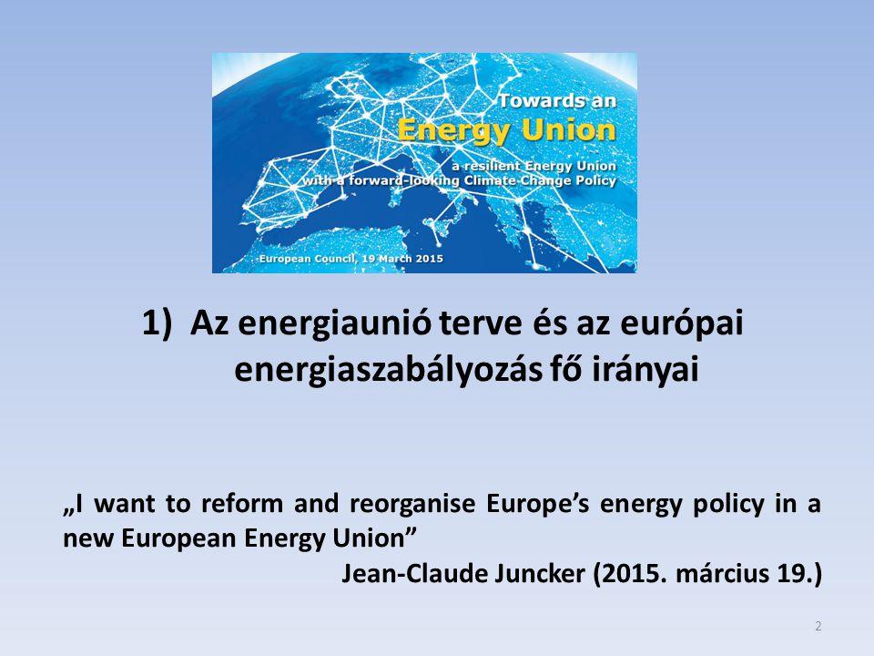 Az energiaunió terve és az európai energiaszabályozás fő irányai