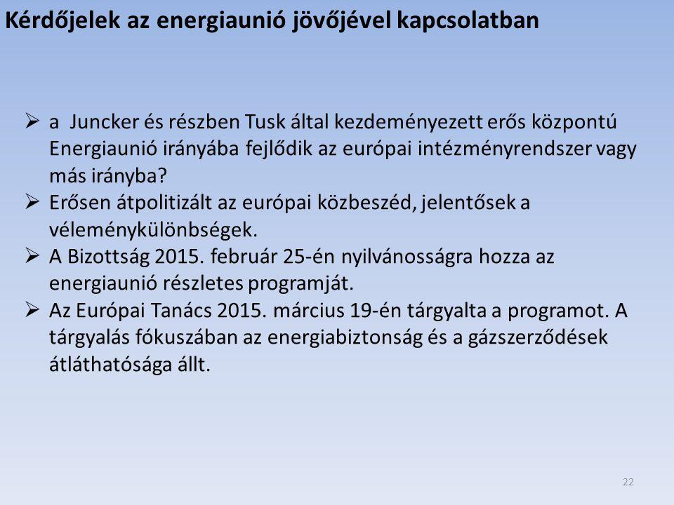 Kérdőjelek az energiaunió jövőjével kapcsolatban