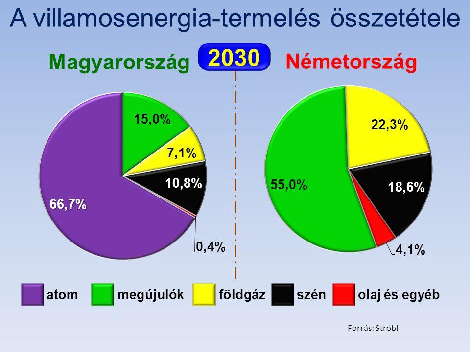 A villamosenergia-termelés összetétele