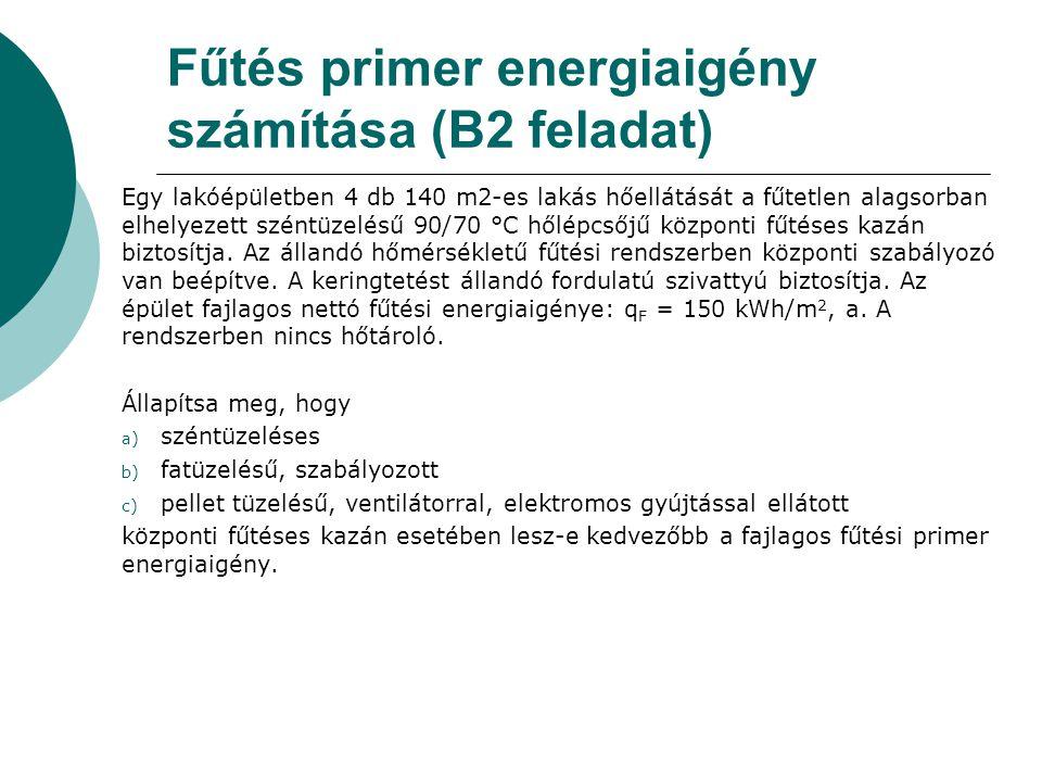 Fűtés primer energiaigény számítása (B2 feladat)