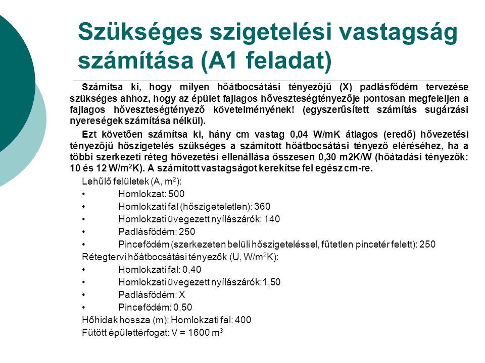 Szükséges szigetelési vastagság számítása (A1 feladat)
