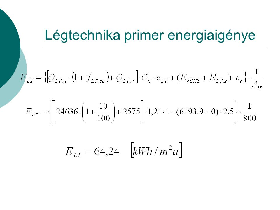 Légtechnika primer energiaigénye