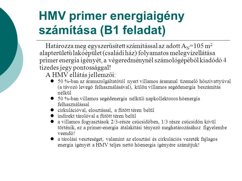 HMV primer energiaigény számítása (B1 feladat)