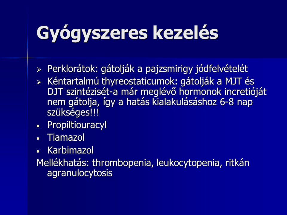 Gyógyszeres kezelés Perklorátok: gátolják a pajzsmirigy jódfelvételét