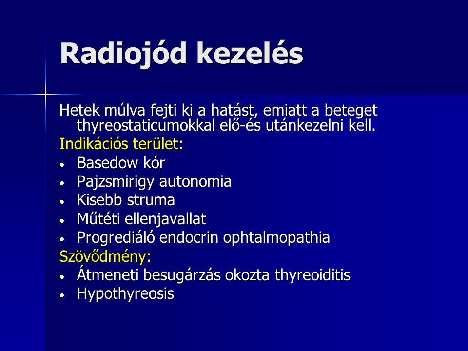 Radiojód kezelés Hetek múlva fejti ki a hatást, emiatt a beteget thyreostaticumokkal elő-és utánkezelni kell.