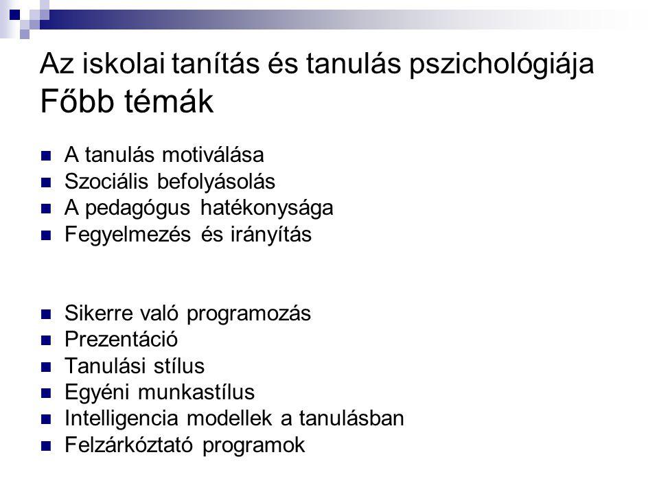 Az iskolai tanítás és tanulás pszichológiája Főbb témák