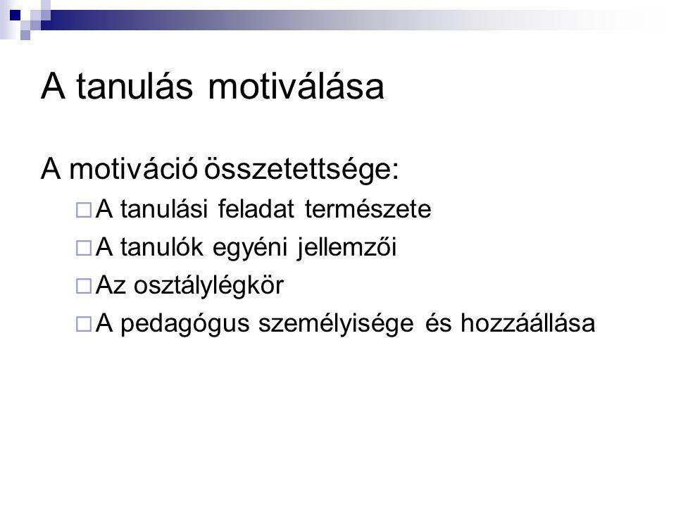 A tanulás motiválása A motiváció összetettsége:
