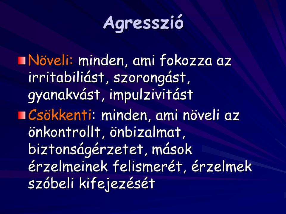 Agresszió Növeli: minden, ami fokozza az irritabiliást, szorongást, gyanakvást, impulzivitást.