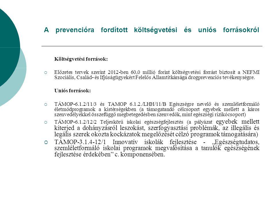 A prevencióra fordított költségvetési és uniós forrásokról