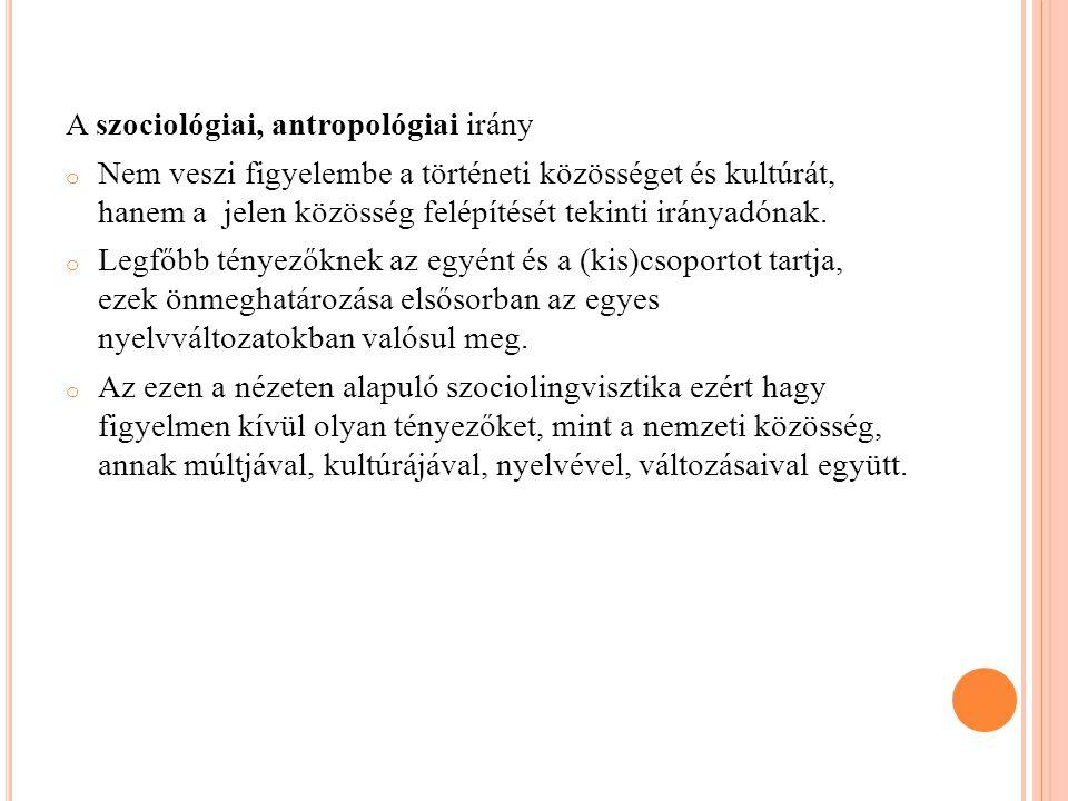A szociológiai, antropológiai irány