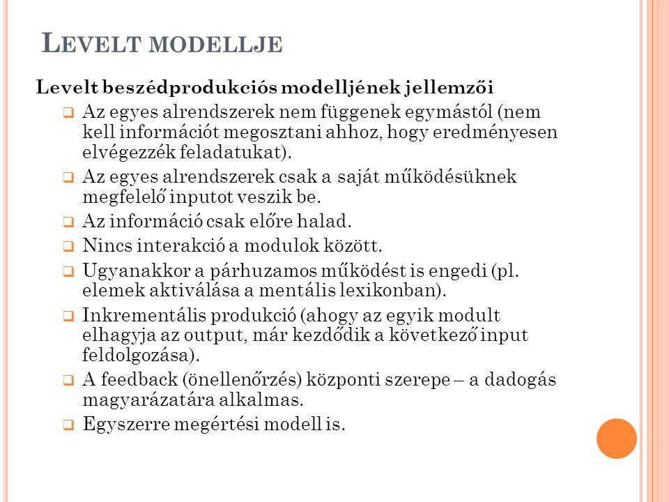 Levelt modellje Levelt beszédprodukciós modelljének jellemzői