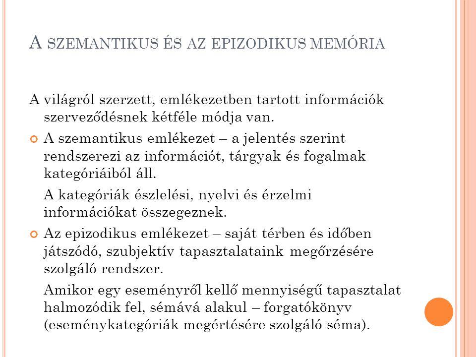 A szemantikus és az epizodikus memória