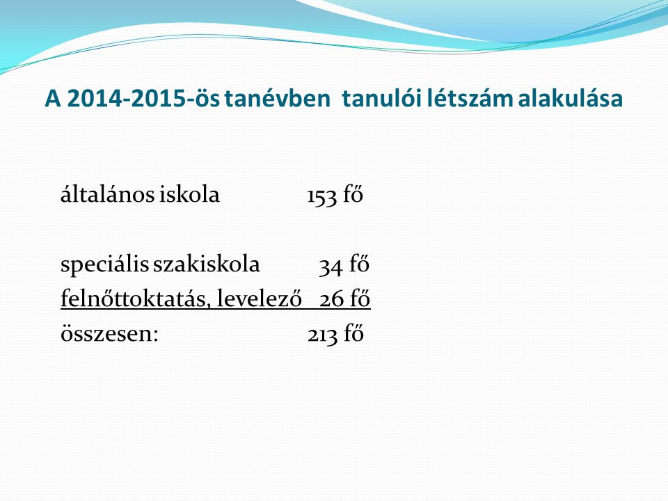 A 2014-2015-ös tanévben tanulói létszám alakulása