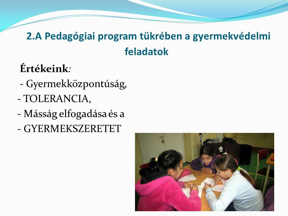 2.A Pedagógiai program tükrében a gyermekvédelmi feladatok