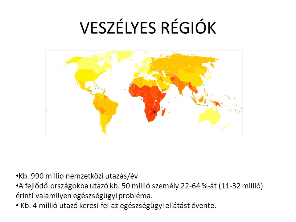 VESZÉLYES RÉGIÓK Kb. 990 millió nemzetközi utazás/év