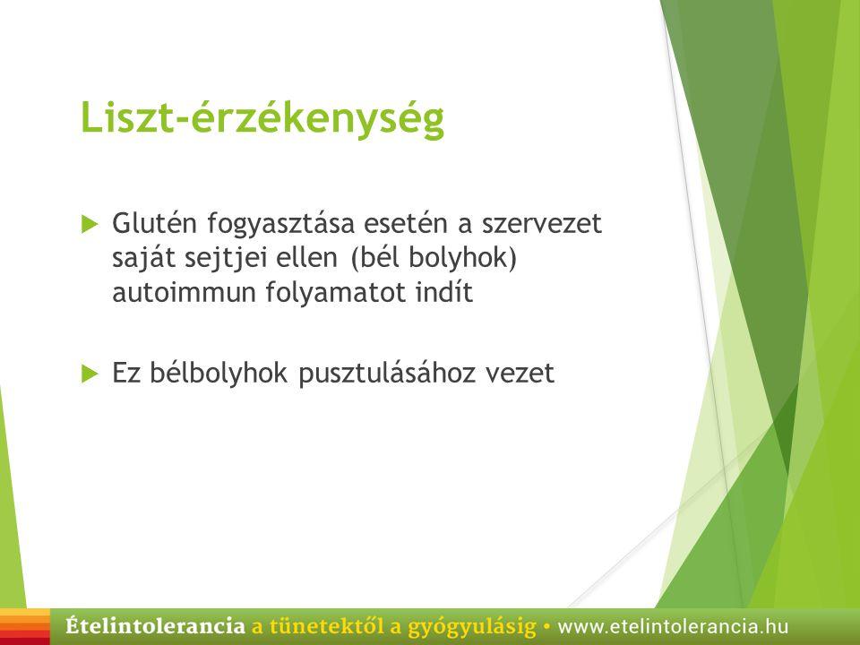 Liszt-érzékenység Glutén fogyasztása esetén a szervezet saját sejtjei ellen (bél bolyhok) autoimmun folyamatot indít.