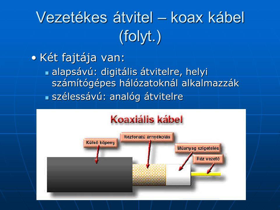 Vezetékes átvitel – koax kábel (folyt.)