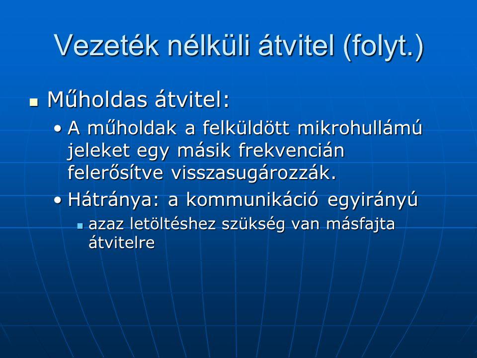 Vezeték nélküli átvitel (folyt.)