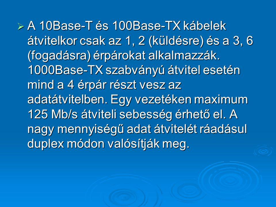 A 10Base-T és 100Base-TX kábelek átvitelkor csak az 1, 2 (küldésre) és a 3, 6 (fogadásra) érpárokat alkalmazzák.