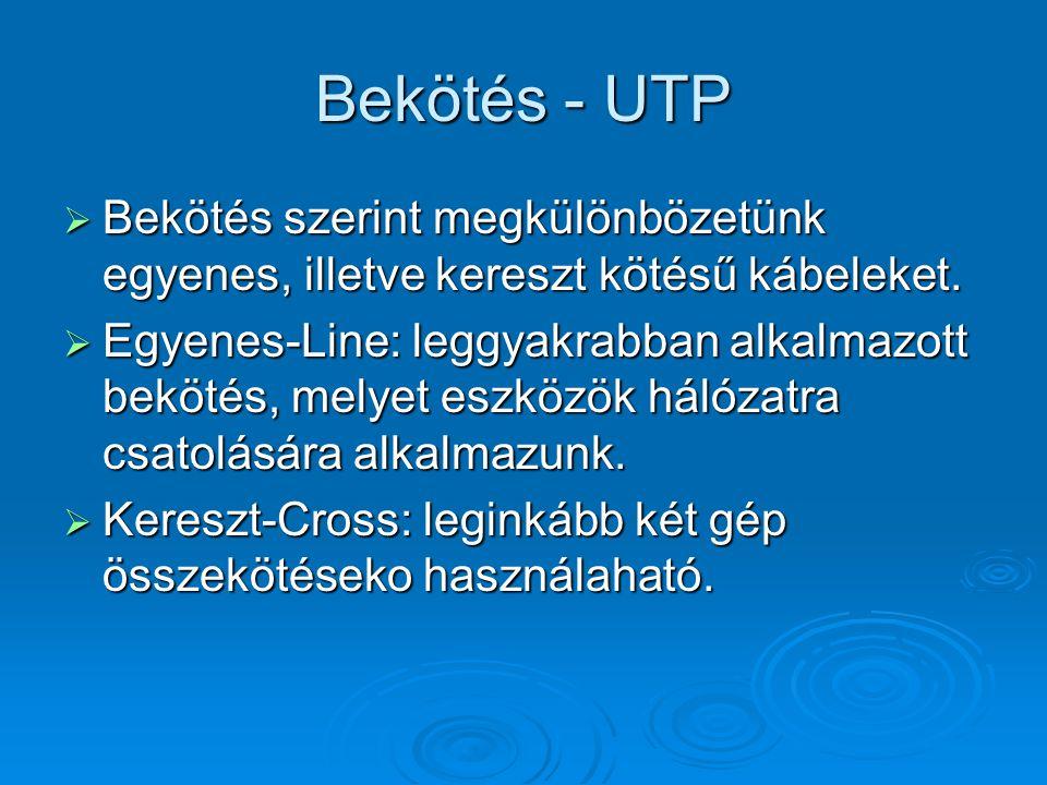 Bekötés - UTP Bekötés szerint megkülönbözetünk egyenes, illetve kereszt kötésű kábeleket.