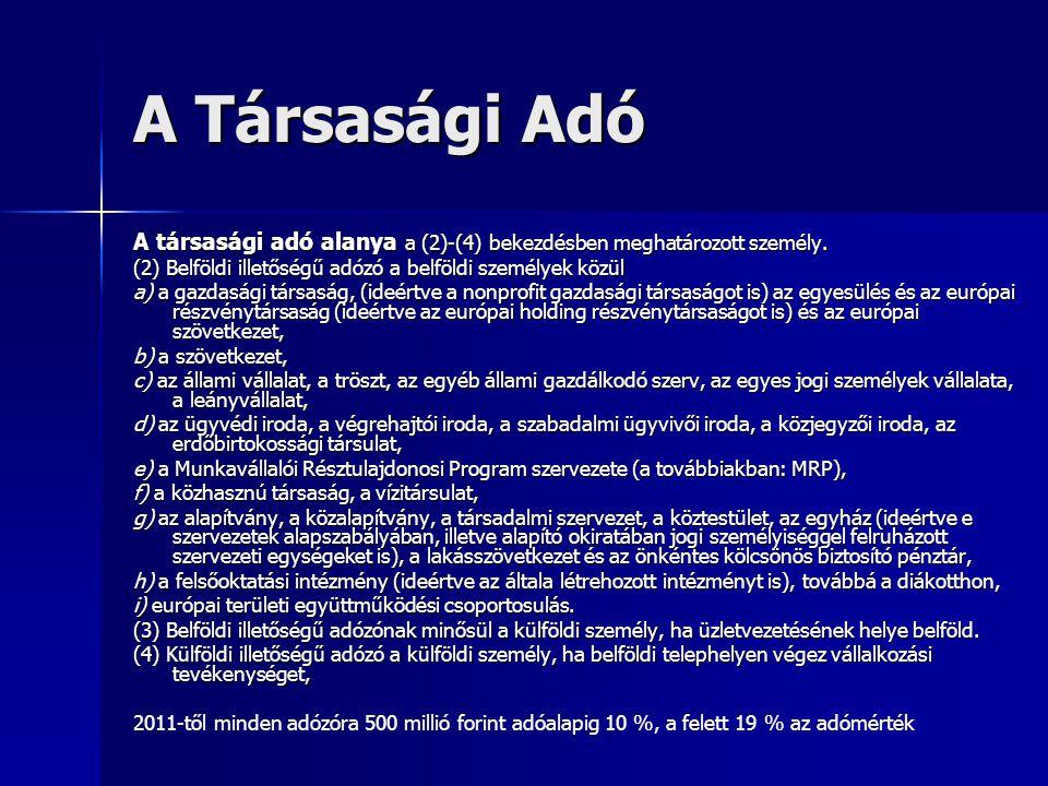 A Társasági Adó A társasági adó alanya a (2)-(4) bekezdésben meghatározott személy. (2) Belföldi illetőségű adózó a belföldi személyek közül.