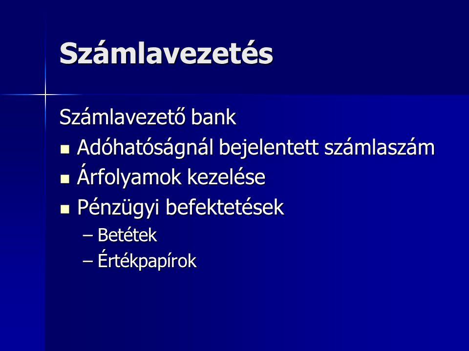 Számlavezetés Számlavezető bank Adóhatóságnál bejelentett számlaszám