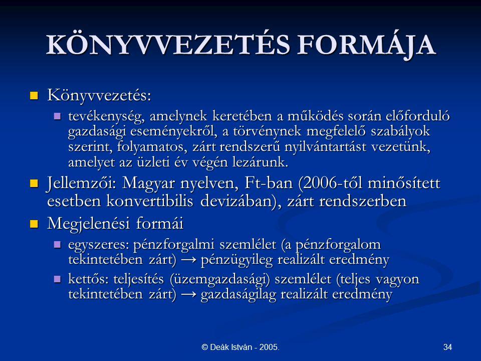 KÖNYVVEZETÉS FORMÁJA Könyvvezetés: