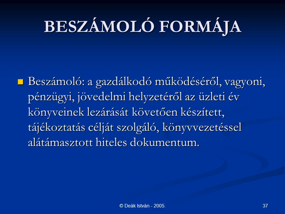 BESZÁMOLÓ FORMÁJA