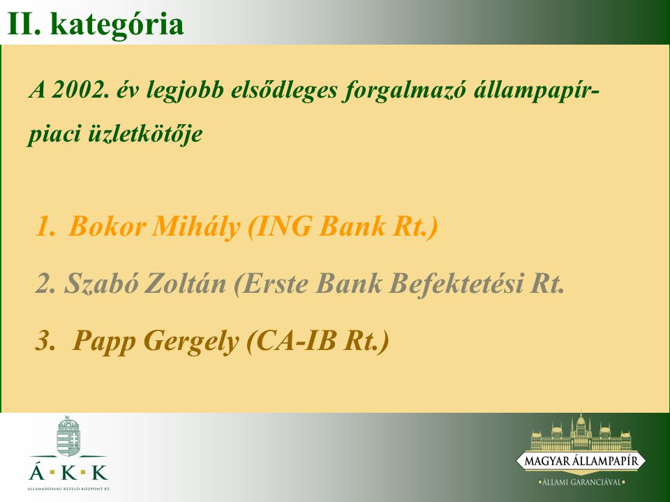 II. kategória Bokor Mihály (ING Bank Rt.)