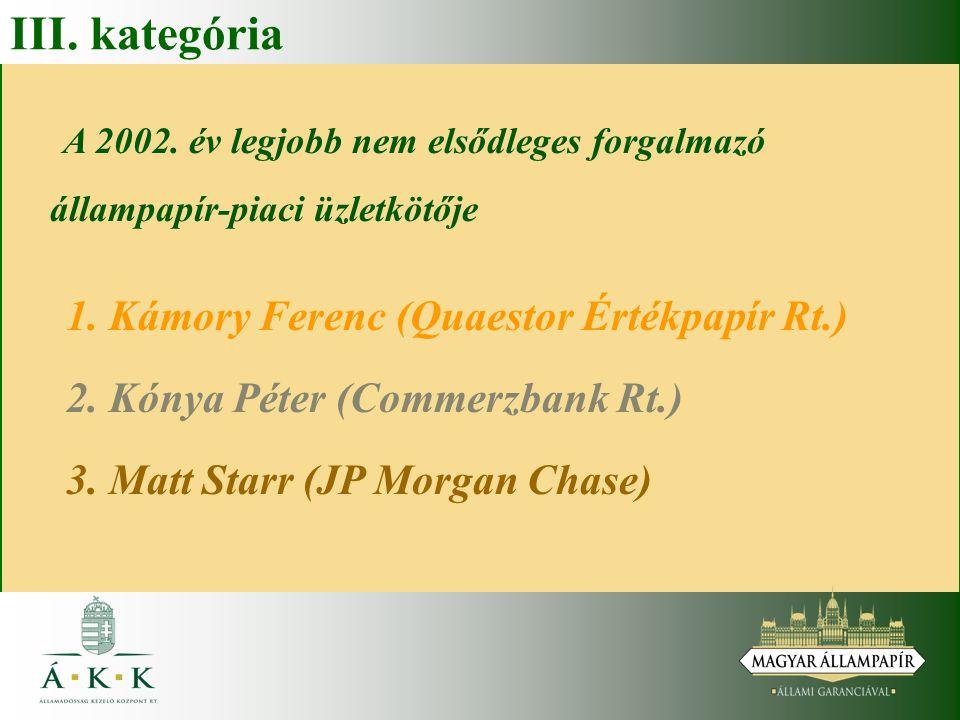 III. kategória A 2002. év legjobb nem elsődleges forgalmazó állampapír-piaci üzletkötője. 1. Kámory Ferenc (Quaestor Értékpapír Rt.)