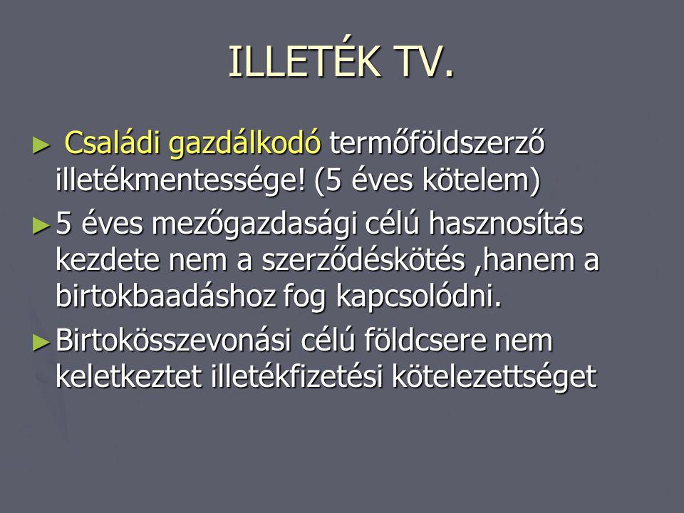 ILLETÉK TV. Családi gazdálkodó termőföldszerző illetékmentessége! (5 éves kötelem)