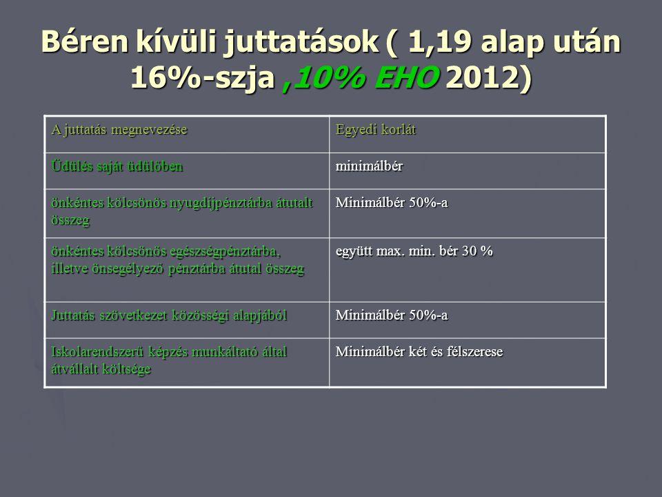 Béren kívüli juttatások ( 1,19 alap után 16%-szja ,10% EHO 2012)