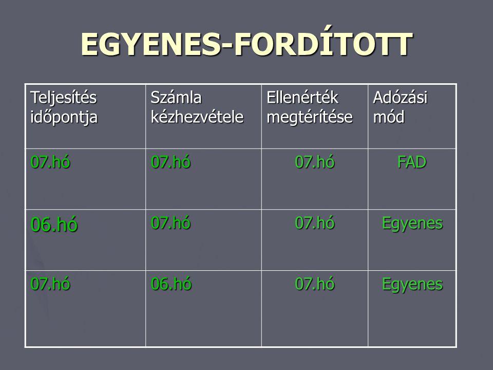 EGYENES-FORDÍTOTT 06.hó Teljesítés időpontja Számla kézhezvétele